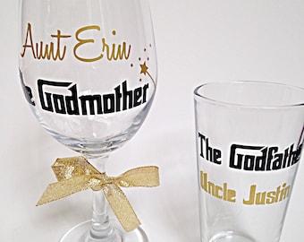 Godparent Wine Glass Gift Set,(2) Godparent gift, Godparent favors, Godmother and Godfather glasses, godmother wine glass, godfather glass,