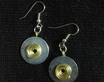 metal earrings with spiral