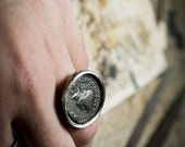 Ancient coin ring-Sterling silver-Hand sculpted-Jewelry