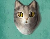 Wall hanging. Paper mache cat head