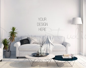 Styled stock Photography, living room blank Wall Photography, Scandinavian interior , Poster Mockup Print Background Digital Background