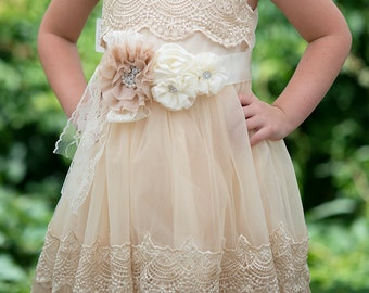 Girls Ivory Lace Dress,crochet lace dress,Ivory Flower Girl Dress,Flower Girl Dress, girls dress,country wedding flower girl,rustic dress