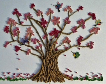 Quilled Mother/Children Cherry Blossom Tree