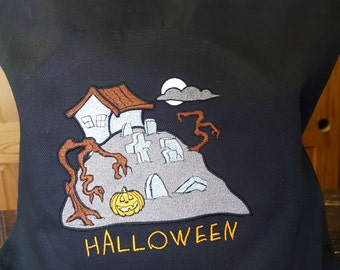 Embroidered Halloween Trick or Treat Loot Bag - Halloween Graveyard