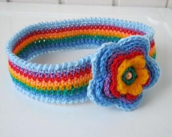 "Headband, baby headband, knitted headband, blue, ""Rainbow"", headband with a flower, little fashionista, gift for a child, ready to ship."