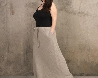 Long linen skirt | Etsy