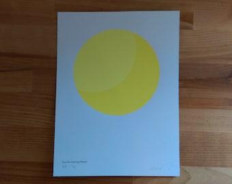 Minimal Sun and waxing Moon glow in the dark screenprinted poster (very limited run)