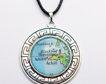 Achill Island, County Mayo Map Necklace, Ireland Map Pendant, Wild Atlantic Way Antique Silver Plated Necklace