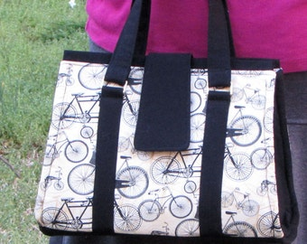 Bicycle Fabric Doctor's Bag/Purse/Tote With Inside Zipper Pocket and Key Fob