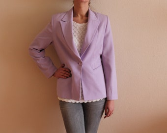 Pale Purple Blazer Women's Purple Jacket Women's Fitted Jacket Classic Jacket Padded Shoulders Medium Size