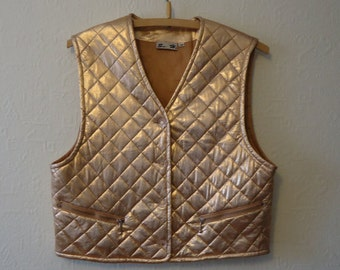 Gold Womens Vest Vintage Quilted Vest Gold Metallic Vest Women's Quilted Waistcoat Cropped Waistcoat Size Medium