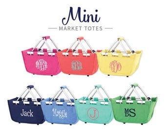 FREE PERSONALIZATION Monogrammed Mini Market Basket ~ Monogrammed Tote Bag  ~ Monogrammed Storage Tote ~ Bridesmaid Gift