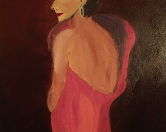 Original oil painting, Lady in pink