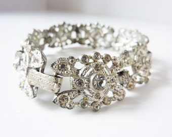 Vintage Pot Metal Bracelet in Silver Tone with Clear Rhinestones from the early 1900s