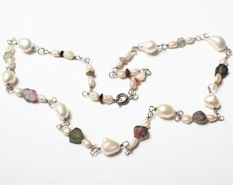 Watermelon tourmaline Necklaces.Tourmaline Necklaces. River pearls Necklaces. Necklace with watermelon tourmaline and river pearls