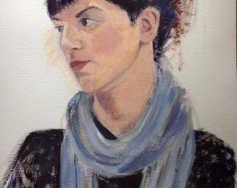 giclee reproduction of original acrylic painting of girl with blue scarf