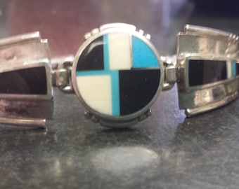 Navajo Ray Tracey inlaid turquoise bracelet and ring