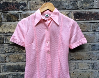 Vintage 70s Pink Short-Sleeve Blouse  with Pointed Collar - UK 8 EU 36 US 6 - Psych Mod Seventies Sixties