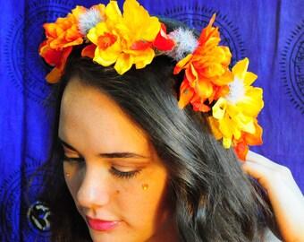 Autumn Spirit Flower Crown, Orange and Yellow Floral Headband