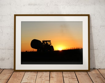 Tractor in the sunset, South Dakota, United States - poster
