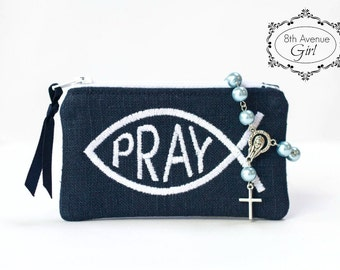 PRAY - Personalized rosary pouch, Monogrammed rosary pouch, Rosary case, Baptism gift, First Communion gift, Confirmation Gift, Wedding gift