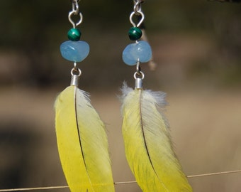 Yellow Parrot Feather Earrings
