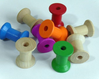 5 Wooden Empty Thread Spools #EE6-7