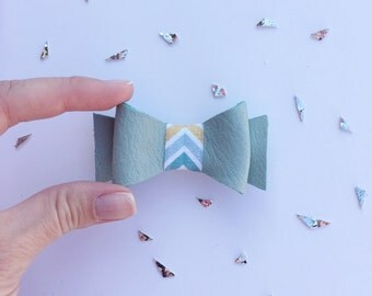 Sage Leather Bow: Mint Leather Bow Clip