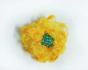 Yellow Organza 2- layered Ribbon Flowers with Glass Beads - 7 cm (2.75 inch) - Set of 2