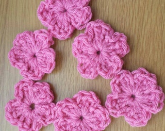Crochet appliques, set of 6, pink, appliques, flowers, crochet flowers, crochet, needlework, embellishment, craft,