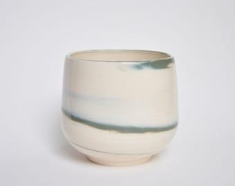 Marble Porcelain Planter Pot - Green
