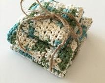Crochet dish cloths, wash cloths, kitchen towels, bath towels, dish cloth, set of 3, dish scrubber, knit, crocheted, face towel, face cloth