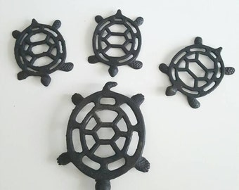 Set of 4 vintage cast iron turtle trivets / plant stand