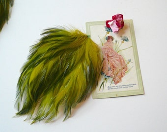 Vintage Millinery Large Chartreuse Green Feather Pad Hat Making Embellishment Fascinator Olive Green Feathers
