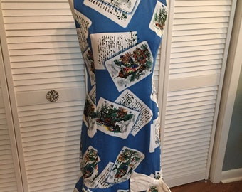 1960s cotton novelty print dress w bow letters, postcards