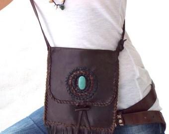 Native American inspired.Crossbody Leather Bag. Boho Bag. Tribal Handmade. Handmade Leather bag. Fringes leather bag. Shoulder Bag. Vintage