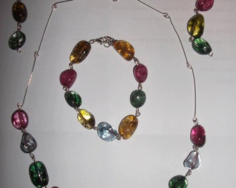 Multi-cololoured Glass Jewellery Set