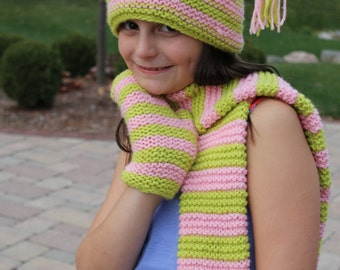 Pink and Greenn Striped Knit Tassle Hat, Scarf and Mittens