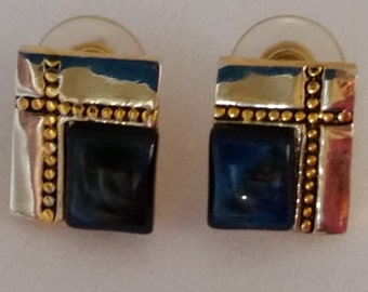 Silver and Gold Tone With Blue Glass Stones, Vintage