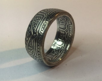 1911-1932 Nepal 2 Mohur (Mohar) Silver Hand Crafted Double Sided Coin Ring
