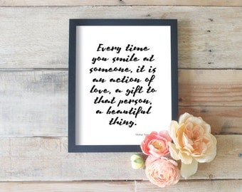 Every Time You Smile At Someone, Your Smile Quotes, Typography Artwork