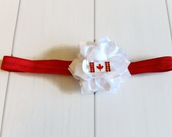 Red & White Lotus Flower Headband with Canada Flag Bling, Canada Day Headband, Canada Flag Headband, Red and White Headband