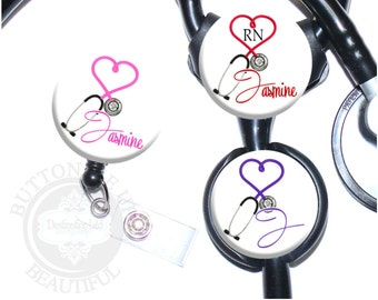 Heart Stethoscope Retractable Id Badge Reel or Stethoscope Id Tag in 6 colors, Personalized Name, Initial, Monogram, Occupation (A053)