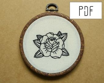 Rose Tattoo Hand Embroidery Pattern (PDF modern embroidery pattern)