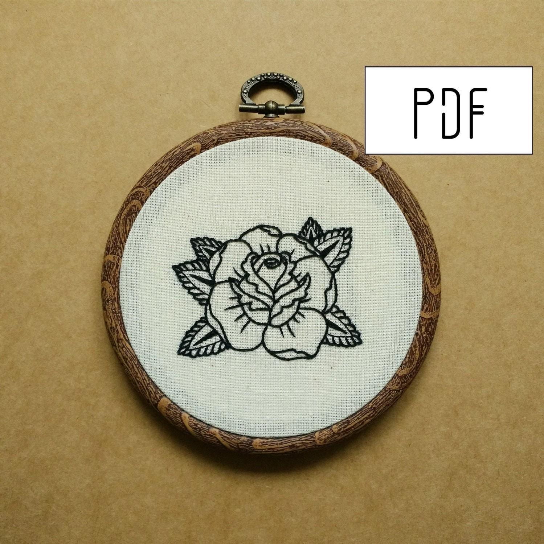Rose tattoo hand embroidery pattern pdf modern