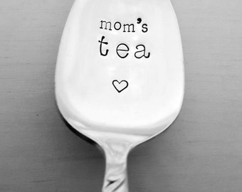 Mom's Tea Spoon, Hand Stamped Spoon, Gift for Mom, Present, Mom Gift, Mom Present, Birthday, Mother's Day, Teas Spoon, Vintage, Silverplate