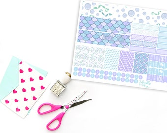 Teenies Mermaids Song Monthly View Planner Sticker Kit for Sew Much Crafting Personal Inserts and Mini Happy Planner
