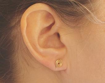14K Gold 7mm Spiral Circle Stud Earring Solid Sterling Silver Gold Filled Rose Gold Filled Earrings jewelry minimalist geometric 004