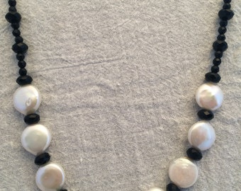 Black Onyx and White Coin Pearl 18 in Necklace