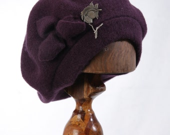 Purple Pure Wool Classic Womens Beret